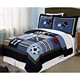 3pc Boys Tan Navy Green White Royal Blue Grey Full Queen Quilt Set, Cotton, Sports Themed Bedding Patchwork Plaid Beige Basketball Soccer Football Star Baseball Stylish Fun Colorful Bold Athlete