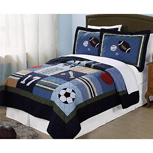 2pc Boys Tan Navy Green White Royal Blue Grey Twin Quilt Set, Sports Themed Bedding Patchwork Plaid Beige Basketball Soccer Football Star Baseball Stylish Fun Colorful Bold Athlete, Cotton by Unknown