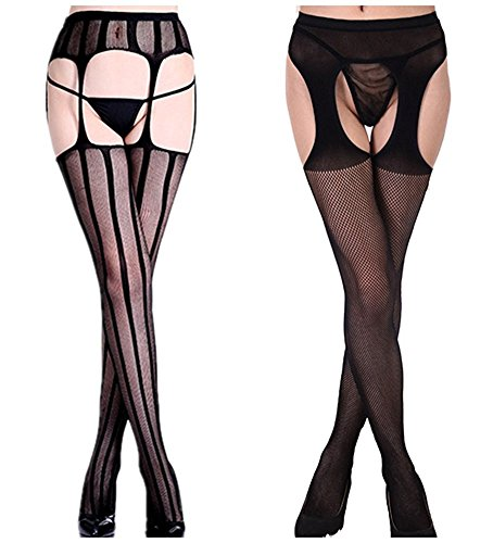 fceeb3307 Toptim Womens Fishnet Thigh-High Stockings Tights Suspender Pantyhose Socks