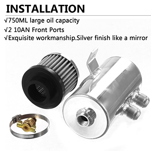 Vincos Universal Aluminum Engine Brushed Baffled Oil Catch Can Kit Coolant Overflow Tank Reservoir 750ML w/Breather Filter Kit Cylinder 2 Front Ports 10AN (Silver) by Vincos (Image #3)