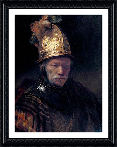 (Alonline Art - Man Golden Helmet by Rembrandt | Black framed picture printed on 100% cotton canvas, attached to the foam board | Ready to hang frame | 30