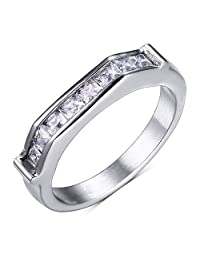 CARTER PAUL Women's Stainless Steel Europe and America Style Fashion Engagement Ring