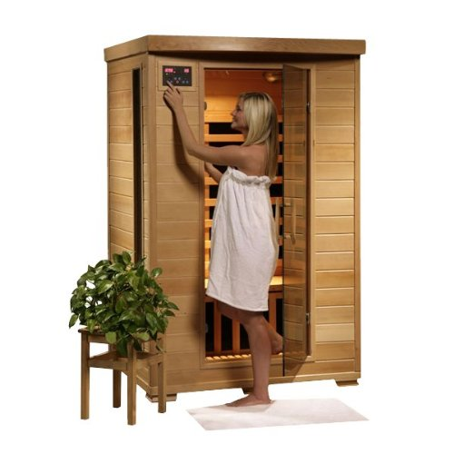 (Hanko 2 Person Pre-Built FAR Infrared Sauna - 6 Premium Carbon Heaters - High Quality Hemlock Wood Construction - Built In MP3/AUX/CD/AM/FM Stereo & Speakers - 7 Color Therapy Light - Backrests - Towel Hooks & Magazine Rack - Oxygen Ionizer - 5 Year Warranty - Easy 2 Person Assembly)
