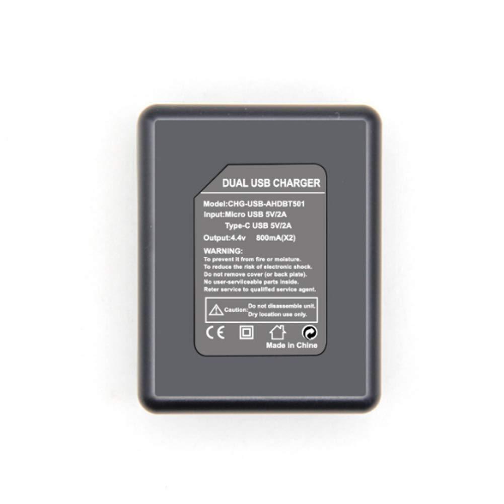 SUNERLORY C/ámara Puerto USB Cargador de bater/ía Seguro Doble Ranura para Gopro Hero 5 6 7 reemplazo de Corriente Estable port/átil port/átil Seguro