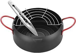 Tempura Deep Fryer Non Stick Japanese Style Deep Frying Iron Pot 22cm w/Oil Drip Drainer Rack & Clip for Fried Chicken Legs, Dried Fish, Tempura, French Fries, Chicken Chops