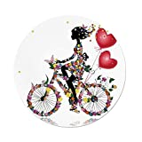 iPrint Polyester Round Tablecloth,Floral,Flower Girl Bike Balloons Valentine Bicycle Fairy Fashion Woman Heart Teen Girls Decor Decorative,Dining Room Kitchen Picnic Table Cloth Cover Outdoor Indo