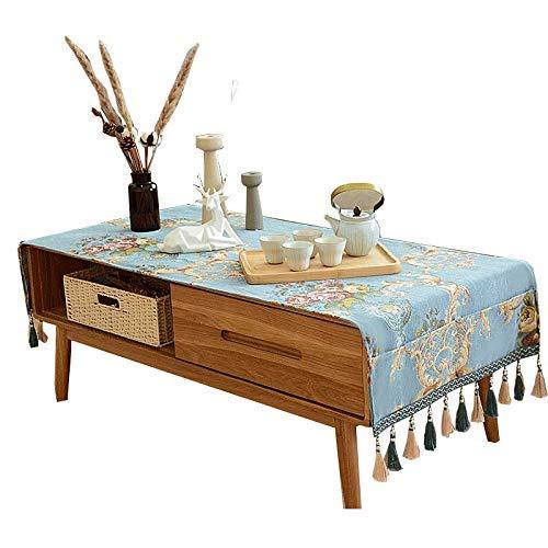 家の装飾布カバー ホームヨーロッパのコーヒーテーブルテーブルクロス生地テーブルクロス高級長方形モダンなミニマリストテーブルマット綿リネン小さな新鮮なカスタマイズすることができます テーブルクロス (色 : 青, サイズ : 70*190cm) 70*190cm 青 B07RT4ZD4K