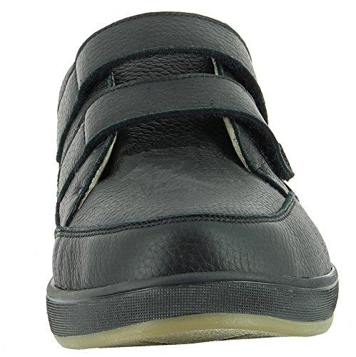 Varomed Profilassi Scarpa 82,120 Uomini, Scarpe Salute, Scarpe Velcro, Scarpe In Pelle, La Metà Di Scarpe, Chiusure In Velcro Per Limbarco Facile, Dialinofutter, Rimovibile, In Pelle Nera Alce