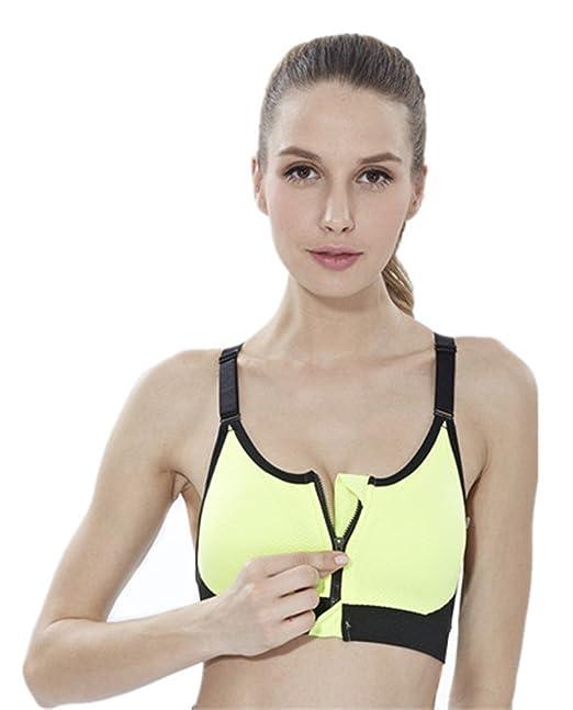 YeeHoo Sujetador Deportivo Gimnasio Ropa Correr Sin Costuras Yoga Almohadillas Extraíbles Comodidad Frontal Cremallera Mujer Chica: Amazon.es: Ropa y ...