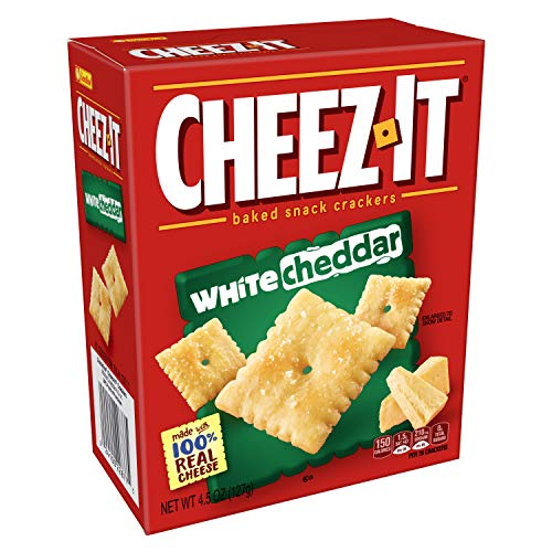 Cheez-It Baked Snack Cheese Crackers, White Cheddar, 4.5 oz Box(Pack of 12)