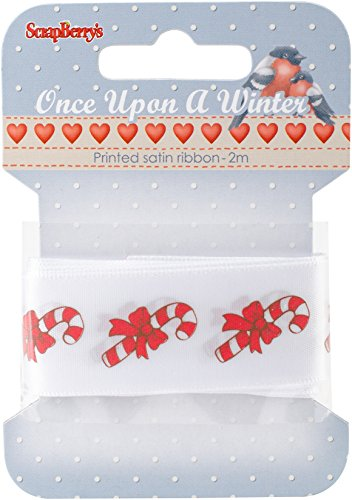 Candy Cane Punch (ScrapBerry's Once Upon A Winter Printed Satin Ribbon-White W/Candy Canes, 25mmX2m)