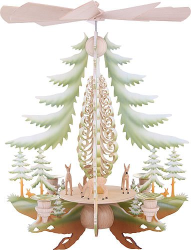 Christmas Pyramid.1 Tier German Christmas Pyramid Carved Deer Colored 35cm 14inch Kunstgewerbe Taulin
