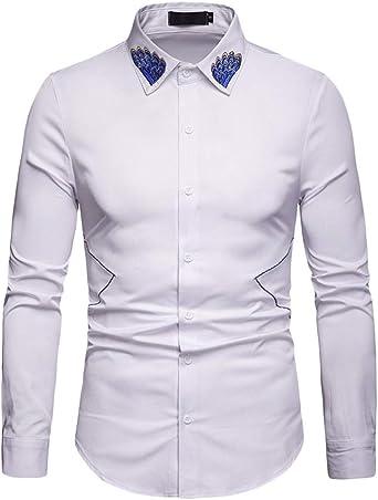 Camisa Hombre Manga Larga Cuello Bordado Slim Fit Camisa Elástica Casual/Formal Clásico Camisa Tops: Amazon.es: Ropa y accesorios