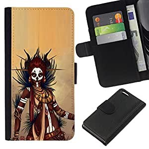 All Phone Most Case / Oferta Especial Cáscara Funda de cuero Monedero Cubierta de proteccion Caso / Wallet Case for Apple Iphone 5C // Black Warrior Woman