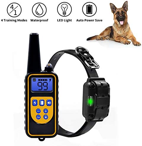 NACRL Dog Training Collar with LED Light – Electronic Rechargeable Dog Shock Collar – Vibration,Shock,Light,Beep 4 Training Modes Remote and Receiver Waterproof Up to 1000yd Remote Range