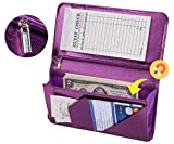 Mymazn 4.7'' X 9'' Metallic Purple Sever Book with Zipper Pocket Bling Waitress Book with Money Pocket and Magnetic Closure, Restaurant Waitstaff Organizer Fit Server Apron with High Volume Pocket