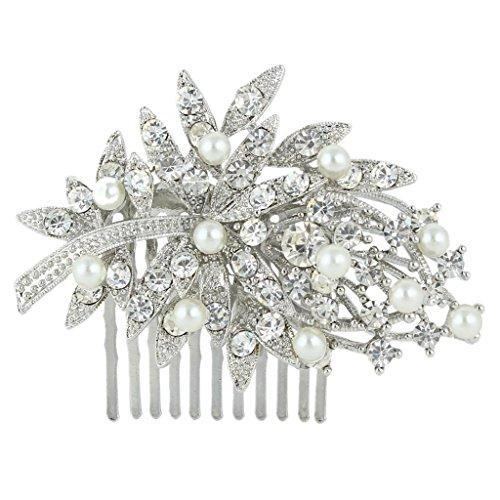 EVER FAITH Wedding Bouquet Hair Comb Simulated Pearl Clear Austrian Crystal Silver-Tone N02459-1