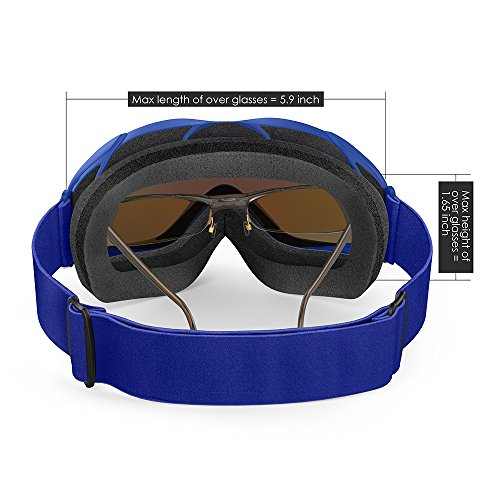 OutdoorMaster OTG Ski Goggles Over Glasses Ski / Snowboard Goggles for Men, Women & Youth 100% UV Protection