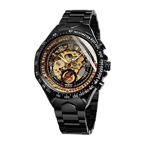- Bestn Men's Wrist Watch, Skeleton Automatic Mechanical Watch, Luminous Hands Auto-Winding Watch