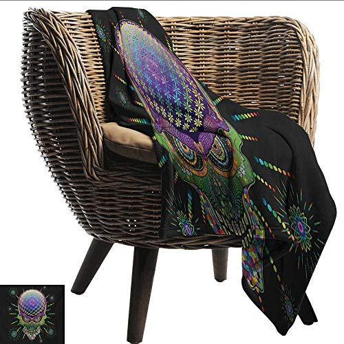 Anshesix Blanket Sheets Psychedelic Digital Mexican Sugar Skull Festive Ceremony Halloween Ornate Effects Design Lightweight Thermal Blankets W80 xL60 Sofa,Picnic,Camping,Beach,Everyday -