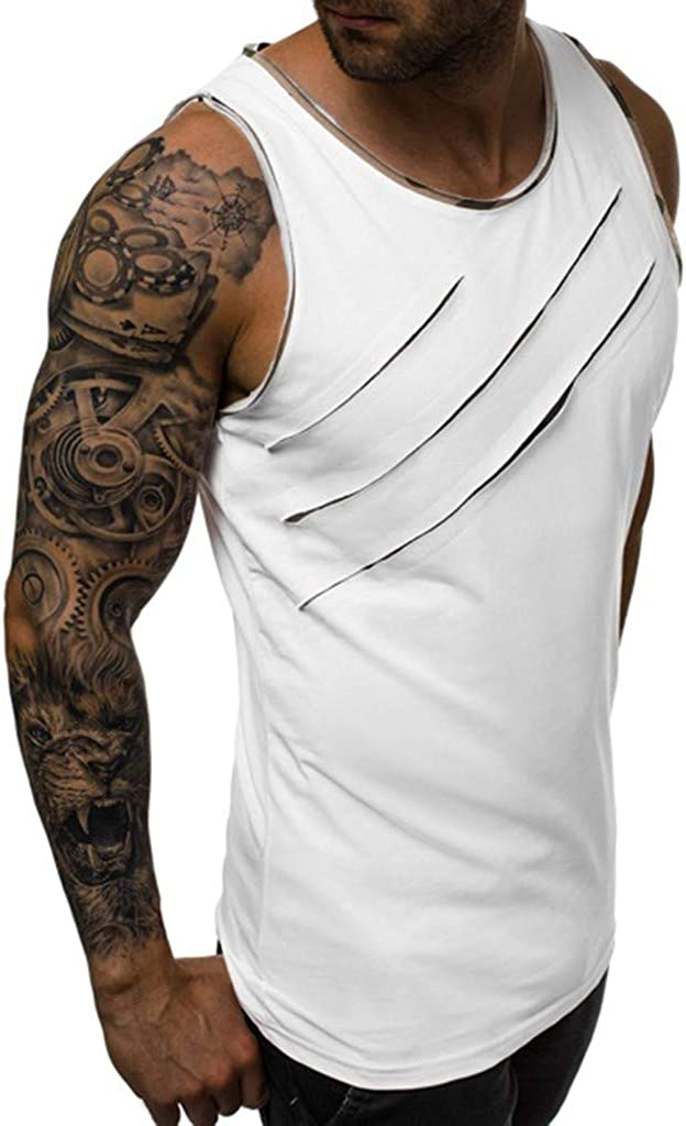 USStore Mens Sports Tanks Summer Casual Essential Scratch Splice Leisure Fitness Gym Muscle Vest Tops Tee