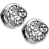 Pair of Sun, Moon and Stars Ear Plugs Tunnels Screw-Fit Gauges Steel/Brass (1 Inch (25mm))