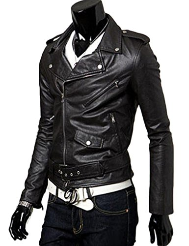 New Mens Causal Belted Design Slim PU Leather Biker Zipper Jacket Coat