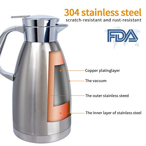 Stainless Steel Coffee Carafe 61 Oz Double Walled Vacuum Insulated Carafes by UNEED by Uneed (Image #2)