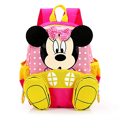 TN Kids Cute Girls Pink Minnie Mouse Backpack Mini Character Adorable Schoolbag Polka Dots Bow White Childrens Bag Yellow Black, Fabric ()
