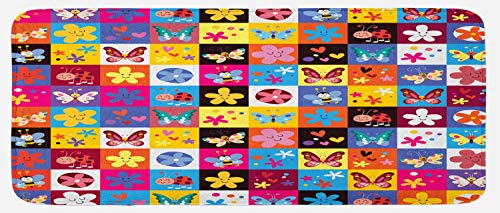 Ambesonne Abstract Kitchen Mat, Butterflies Beetles Flowers Bees Bugs Hearth Spring Lovely Hippie Season Image, Plush Decorative Kithcen Mat with Non Slip Backing, 47 W X 19 L Inches, Multicolor