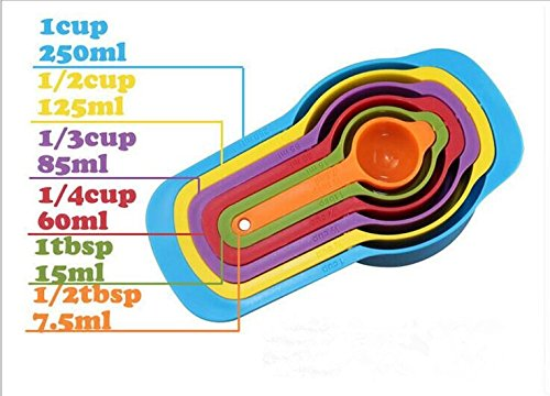 Drhob Measuring Baking Spoons Cups Kitchen Tools Teaspoon Rainbow Color 6pcs Utensil Shipping Method (Color:Multicolor random)