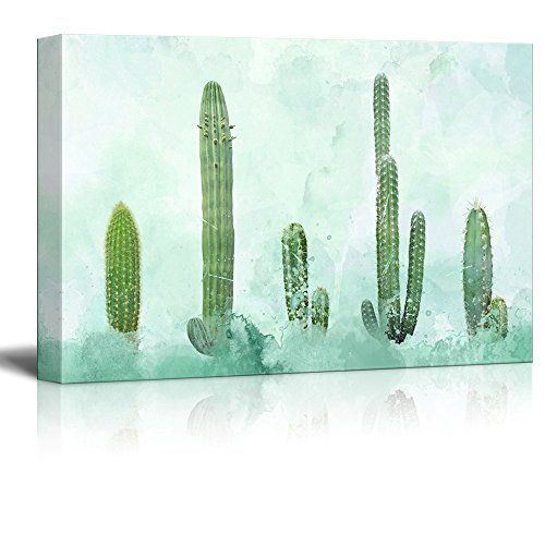 Cactus on Abstract Watercolor Background Gallery