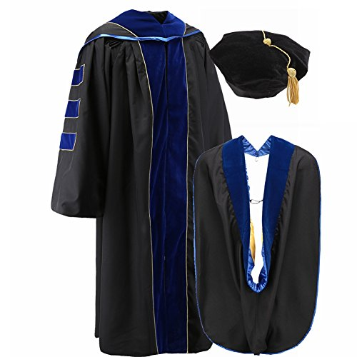 Robe Depot Deluxe Faculty Doctoral PhD Graduation Gown with Hood Tam 8 Sided Pack PhD Dark Blue Size48 (Graduation Ph Gown D)