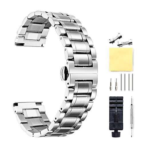 BINLUN Stainless Steel Watch Bands with Straight & Curved End 5 Color(Gold, Sliver, Black, Rose Gold, Gold-Silver Two Tone) 9 Size(12mm to 24mm)