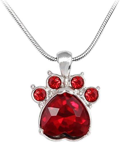 Womens Crystal Birth Dog Paw Rhinestone Heart Necklace Pet Pendant Gift Jewelry