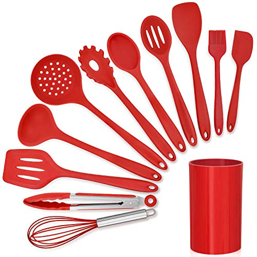 LIANYU 12-Piece Red Silicone Kitchen Cooking Utensils with Holder, Kitchen Tools Set Include Slotted Spatula Spoon…