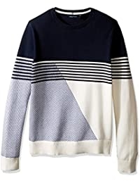 Nautica Men's Long Sleeve Novelty Stripe Crew Neck Sweater