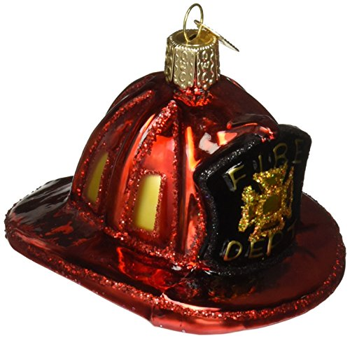 Old World Christmas Ornaments: Fireman's Helmet Glass Blown Ornaments for Christmas Tree (32225)
