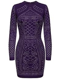 Meaneor Women Rhinestone Embellished Bodycon Slim Fit Sequin Club Dress
