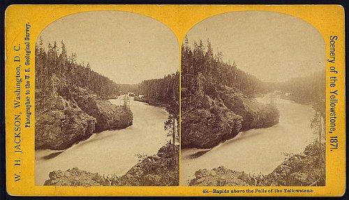HistoricalFindings Photo: Photo of Stereograph,Yellowstone National Park,Rapids,Waterfalls,Landscape,2