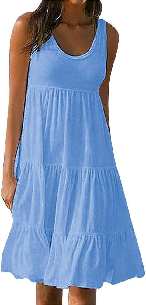 Tomwell Donna Vestiti Estivi Casual Eleganti Colore Solido Girocollo Senza Maniche Mini Abito Gonne Spiaggia Abiti Sundress Boho