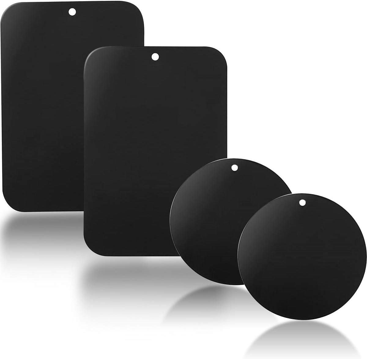 YGKJ 4 Piezas láminas Metálicas con Adhesivos Muy Finas Reemplazo de Placas de Metal para Soporte Movil Coche Magnético/Soporte iman movil Coche (2 Redondas y 2 rectangulares)