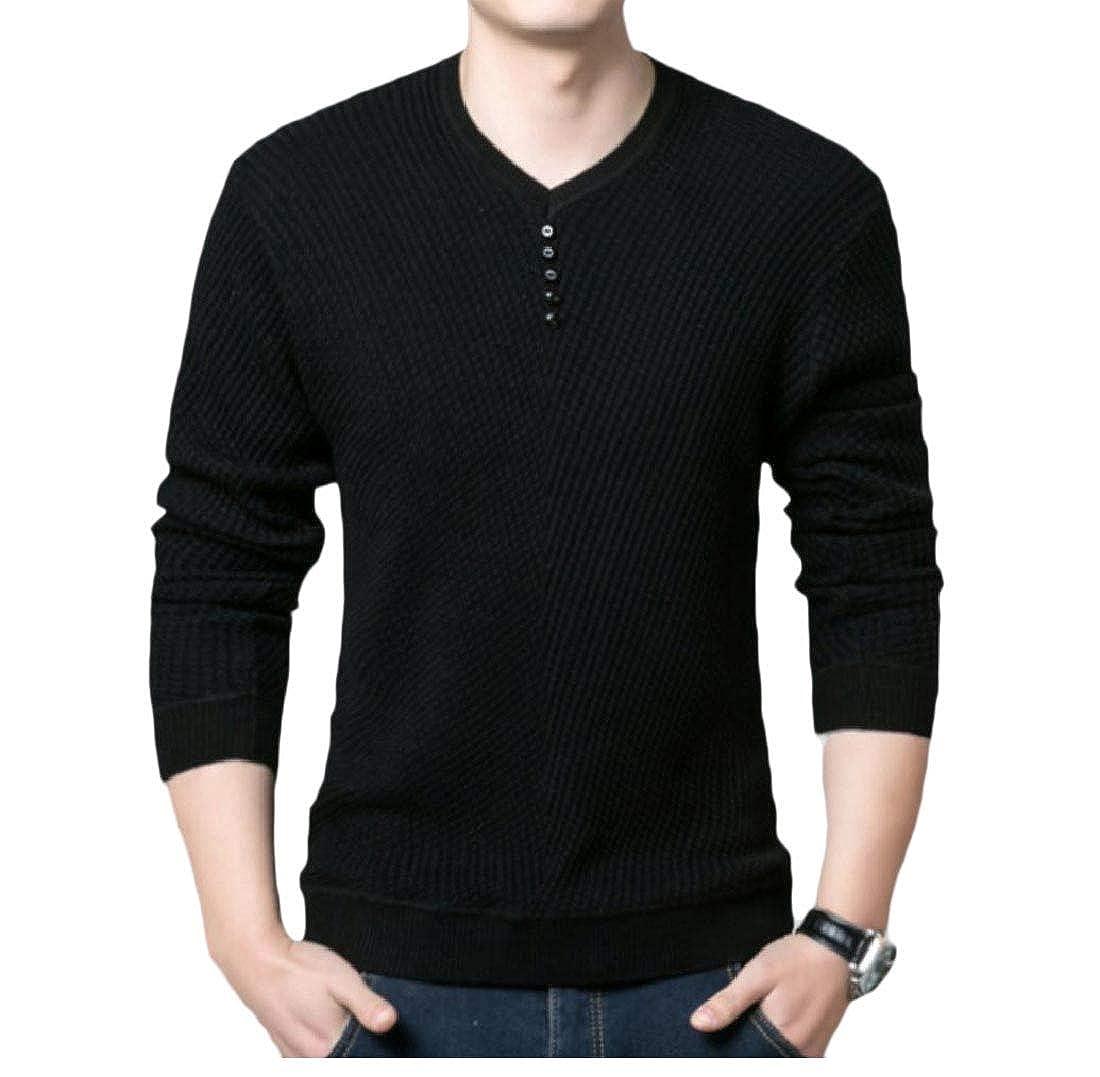 YUNY Mens Pullover Mulit Color Jacquard Knitting Ribbing Edge Sweater Black 2XL