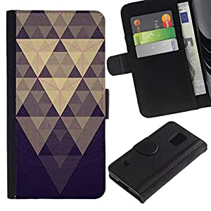 LASTONE PHONE CASE / Lujo Billetera de Cuero Caso del tirón Titular de la tarjeta Flip Carcasa Funda para Samsung Galaxy S5 V SM-G900 / Pyramid Pattern Blue Pastel Purple