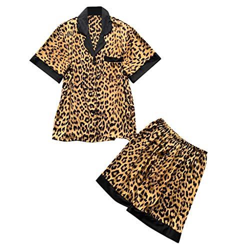 - Pajamas Set Short Sleeve Sleepwear Womens Button Down Nightwear Leopard Print Lounge Sets Silk Tee and Shorts Set Yellow