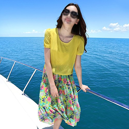 Rock Gelbe Seaside Strandkleid Frau Kurzarm Kleider Sommer Shown As v4qqO