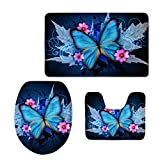 Showudesigns Pretty Printing Butterfly Bathroom Carpet Toilet Seat Cover