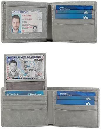 2 ID Window RFID Wallet for Men, Bifold Wallet, Sleek and Stylish Gift for Men, Multi Card Extra Capacity Travel Wallet