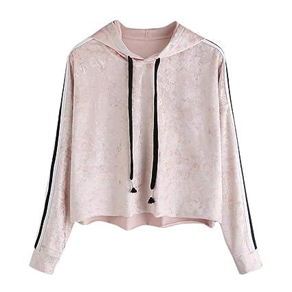 FimKaul New Women Blouse Pink Velvet Hoodie Sweatshirt Striped Crop Tops Long Sleeve Jumper Hooded Pullover