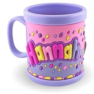 Mi nombre Taza 3d taza Hannah Color Azul Claro Para Niños plástico taza vaso